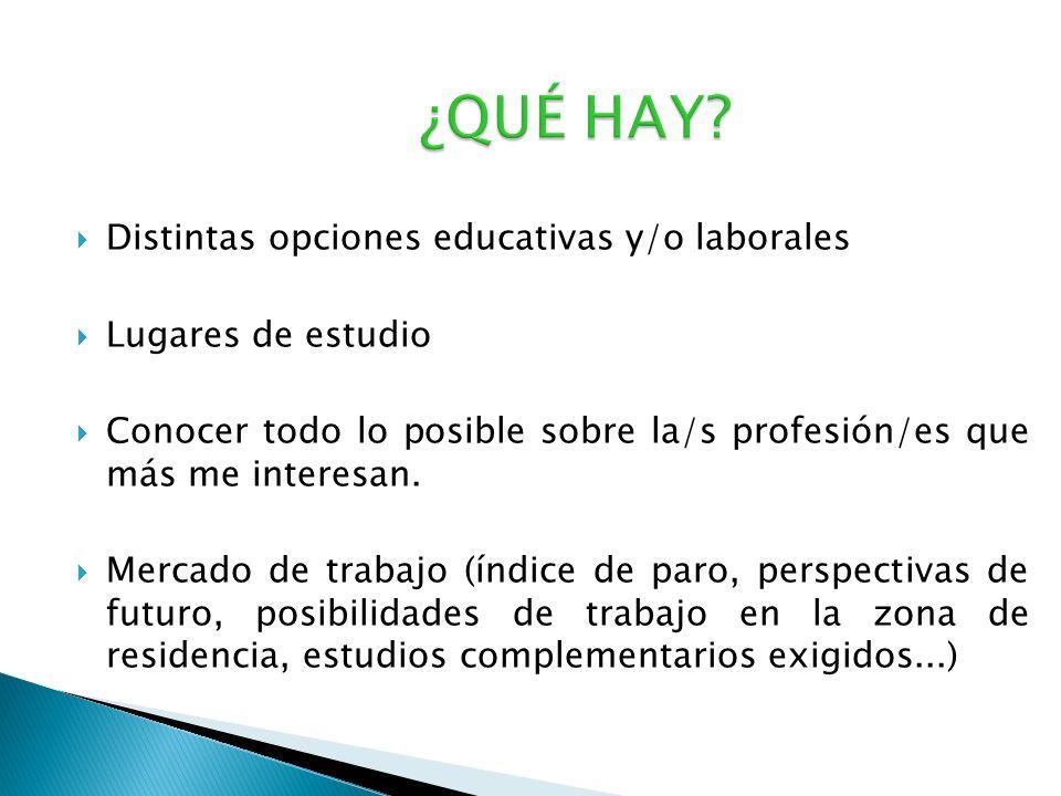 ¿QUÉ HAY Distintas opciones educativas y/o laborales
