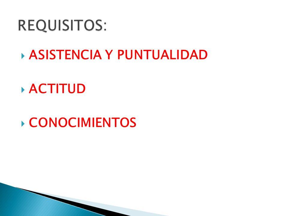 REQUISITOS: ASISTENCIA Y PUNTUALIDAD ACTITUD CONOCIMIENTOS