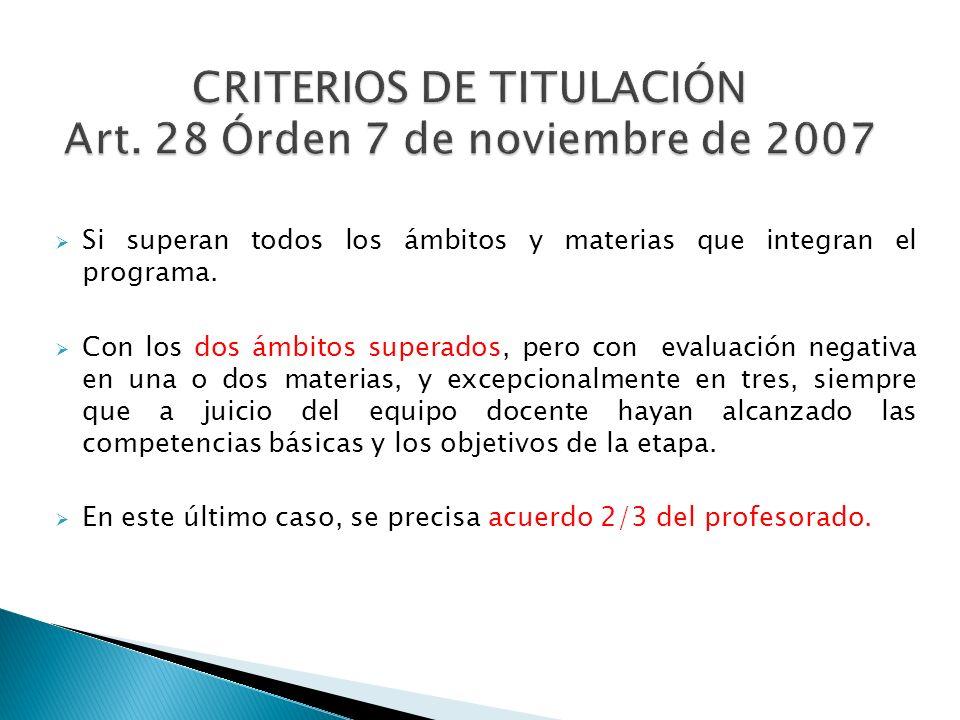 CRITERIOS DE TITULACIÓN Art. 28 Órden 7 de noviembre de 2007
