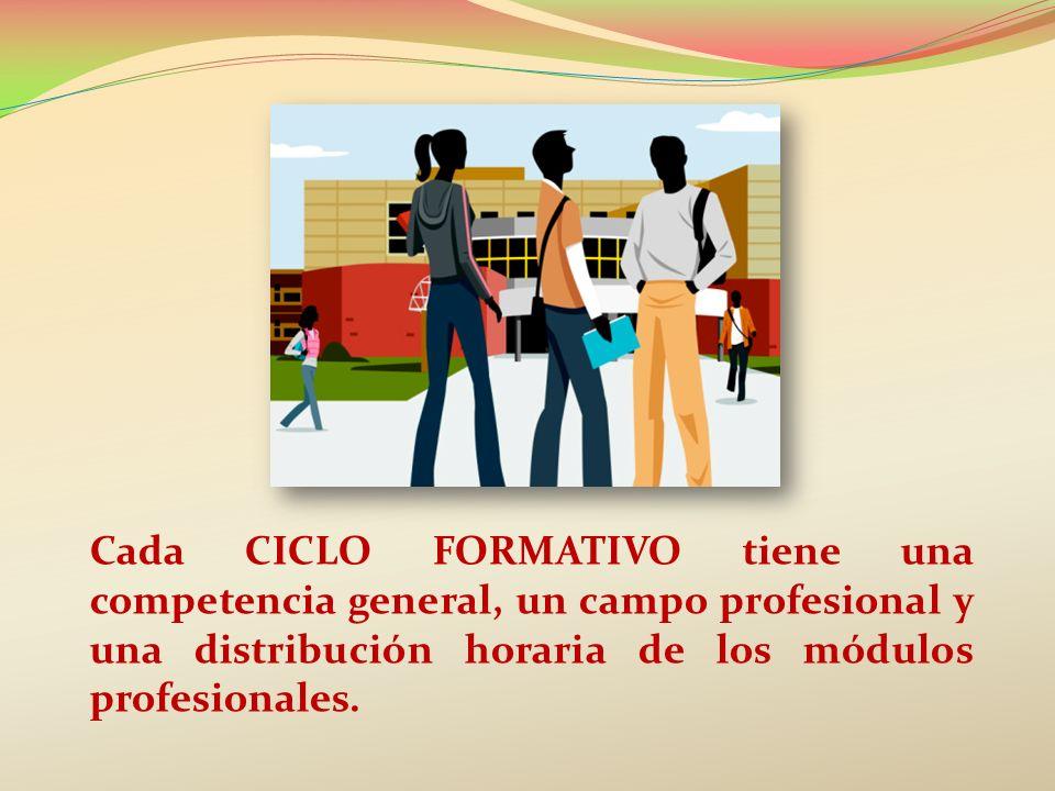 Cada CICLO FORMATIVO tiene una competencia general, un campo profesional y una distribución horaria de los módulos profesionales.