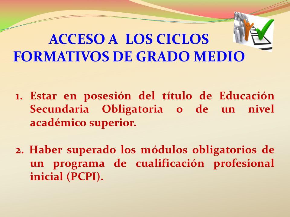 ACCESO A los Ciclos Formativos DE GRADO MEDIO
