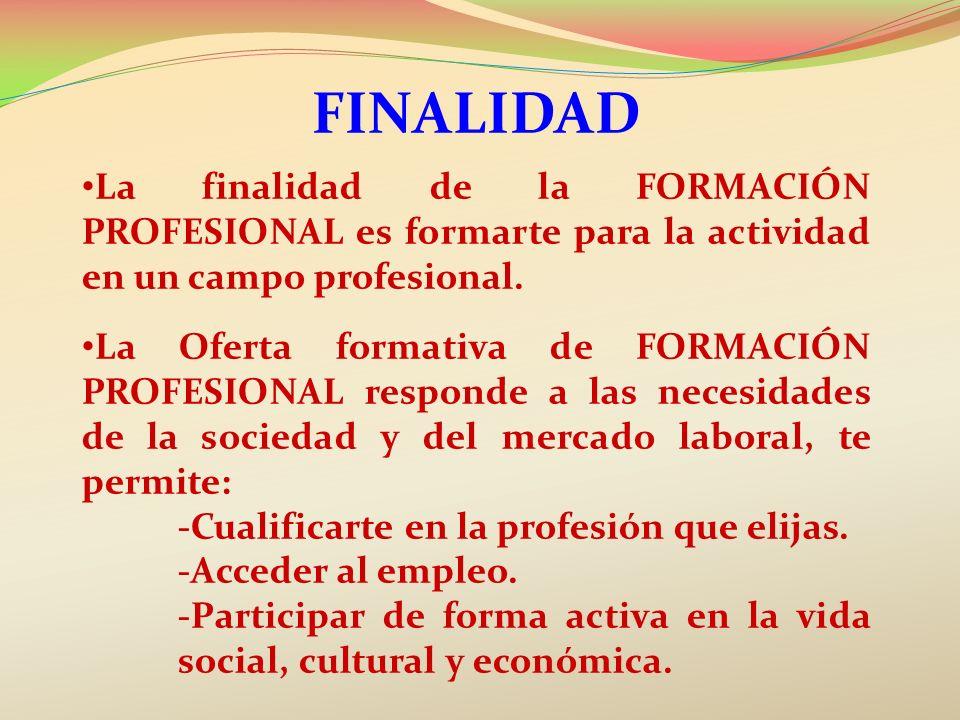 finalidad La finalidad de la FORMACIÓN PROFESIONAL es formarte para la actividad en un campo profesional.