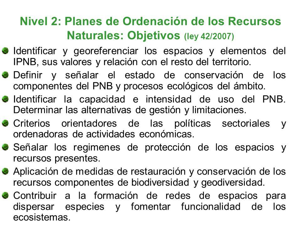 Nivel 2: Planes de Ordenación de los Recursos Naturales: Objetivos (ley 42/2007)