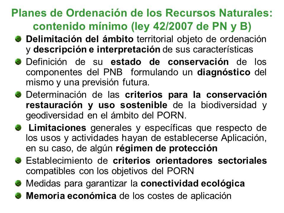 Planes de Ordenación de los Recursos Naturales: contenido mínimo (ley 42/2007 de PN y B)