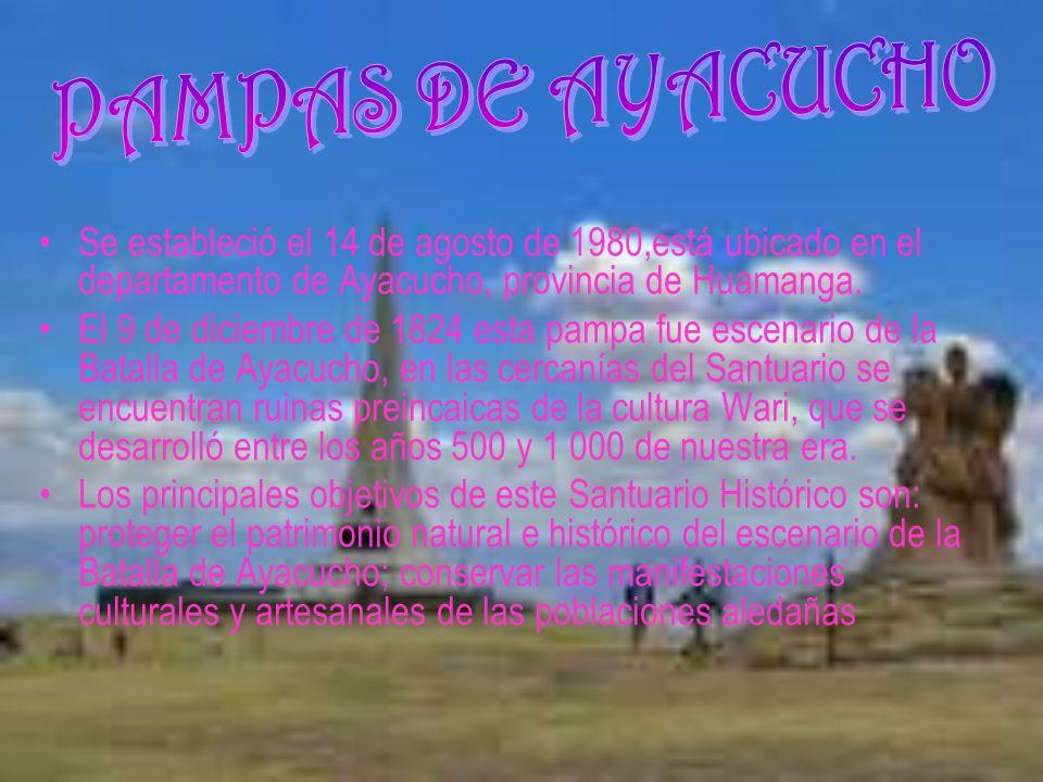 PAMPAS DE AYACUCHO Se estableció el 14 de agosto de 1980,está ubicado en el departamento de Ayacucho, provincia de Huamanga.