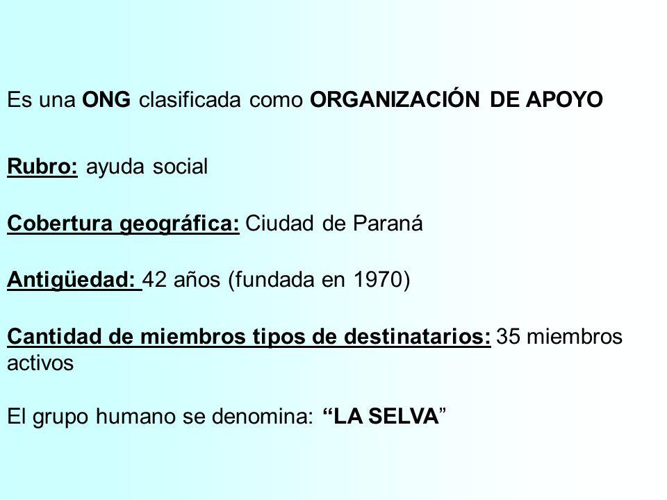 Es una ONG clasificada como ORGANIZACIÓN DE APOYO
