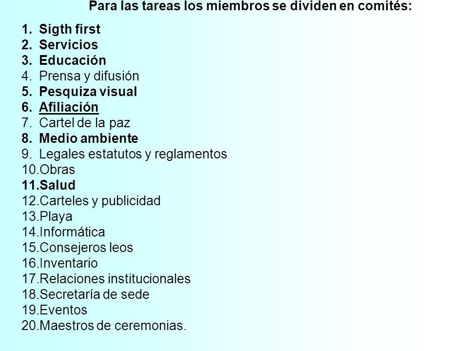 Para las tareas los miembros se dividen en comités: