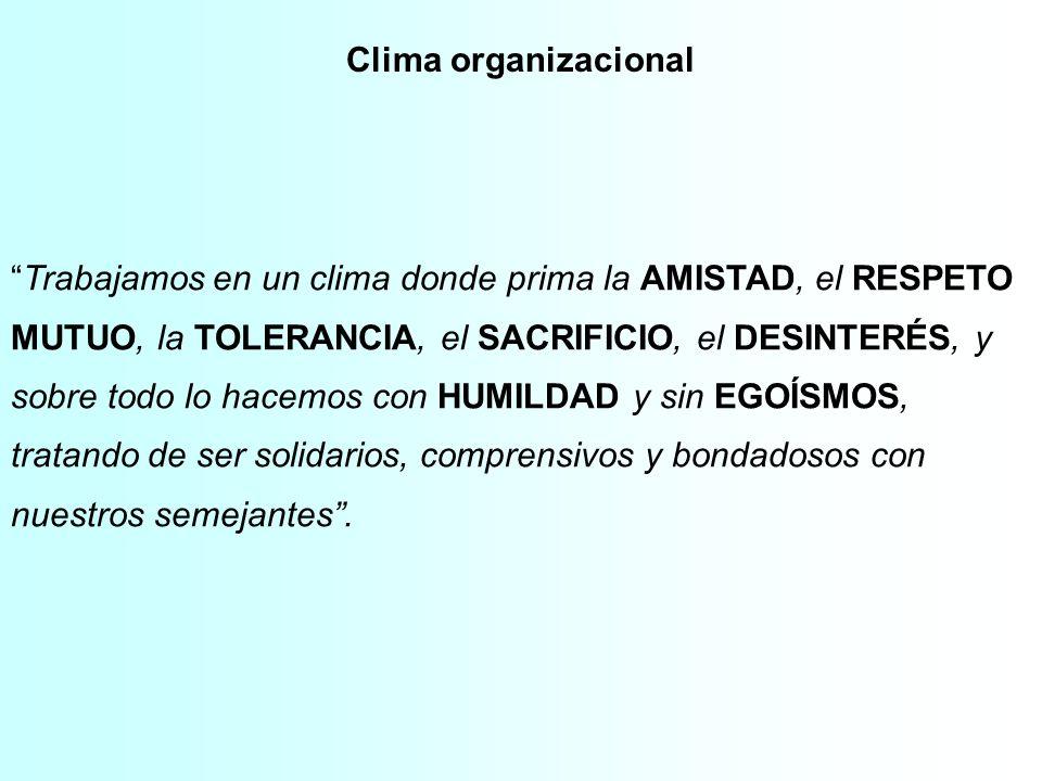 Clima organizacional Trabajamos en un clima donde prima la AMISTAD, el RESPETO. MUTUO, la TOLERANCIA, el SACRIFICIO, el DESINTERÉS, y.