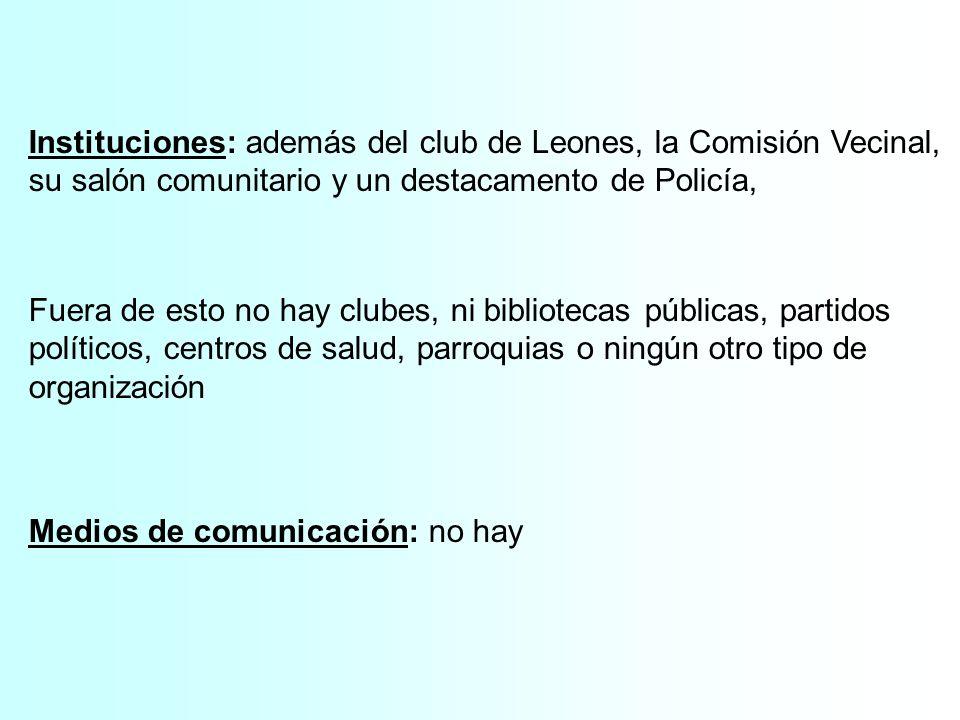 Instituciones: además del club de Leones, la Comisión Vecinal, su salón comunitario y un destacamento de Policía,