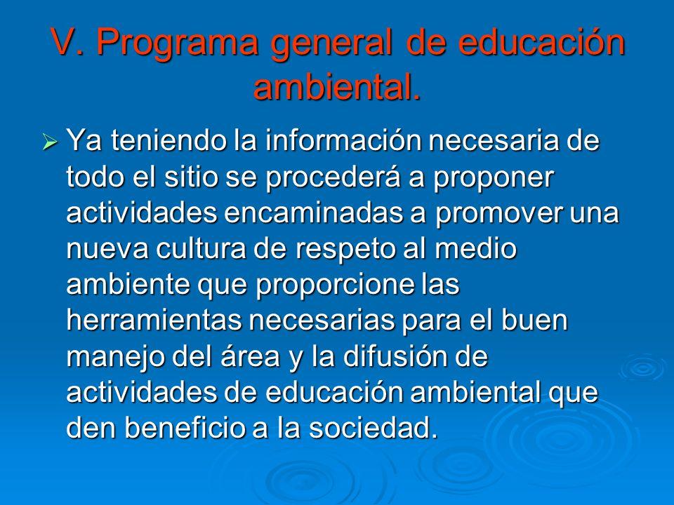 V. Programa general de educación ambiental.
