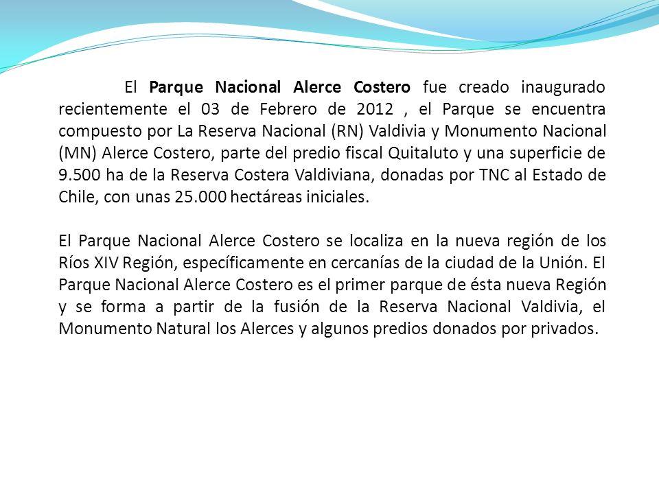El Parque Nacional Alerce Costero fue creado inaugurado recientemente el 03 de Febrero de 2012 , el Parque se encuentra compuesto por La Reserva Nacional (RN) Valdivia y Monumento Nacional (MN) Alerce Costero, parte del predio fiscal Quitaluto y una superficie de 9.500 ha de la Reserva Costera Valdiviana, donadas por TNC al Estado de Chile, con unas 25.000 hectáreas iniciales.