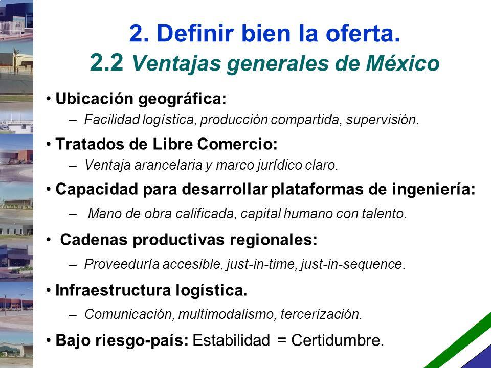 2. Definir bien la oferta. 2.2 Ventajas generales de México