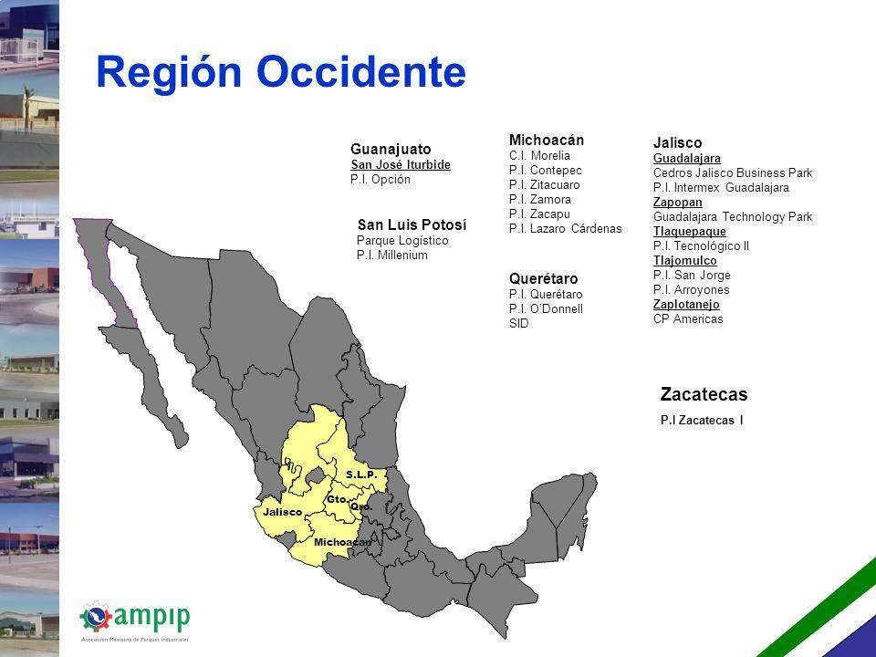 Región Occidente Zacatecas Michoacán Jalisco Guanajuato