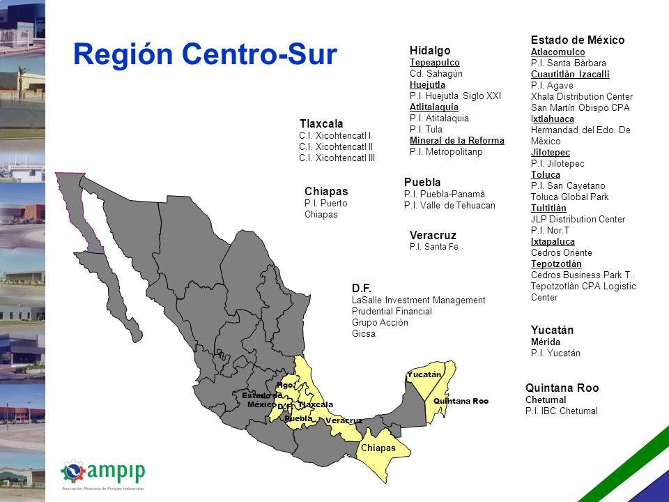 Región Centro-Sur Estado de México Hidalgo Tlaxcala Puebla Chiapas