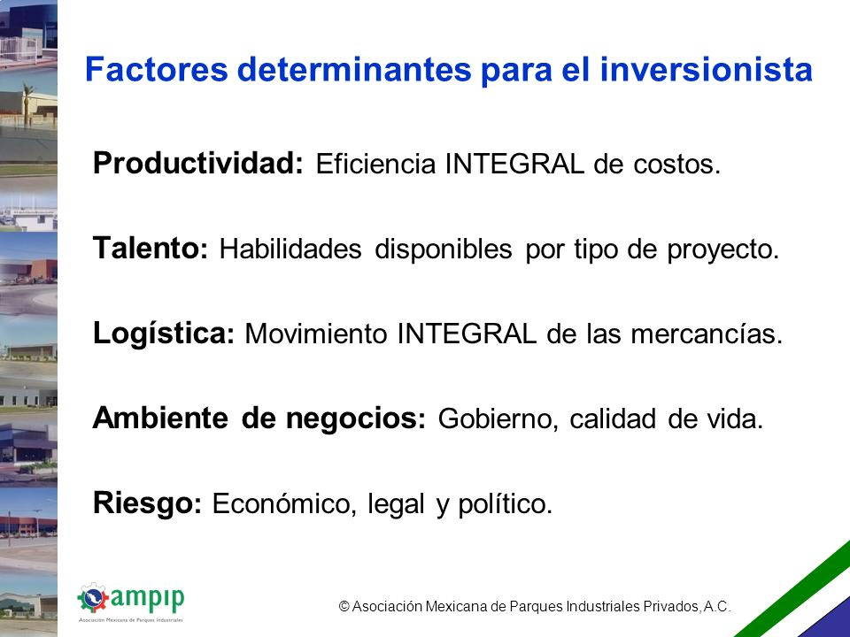 Factores determinantes para el inversionista