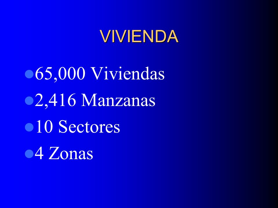 VIVIENDA 65,000 Viviendas 2,416 Manzanas 10 Sectores 4 Zonas