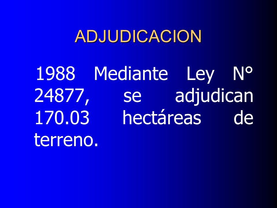 1988 Mediante Ley N° 24877, se adjudican 170.03 hectáreas de terreno.