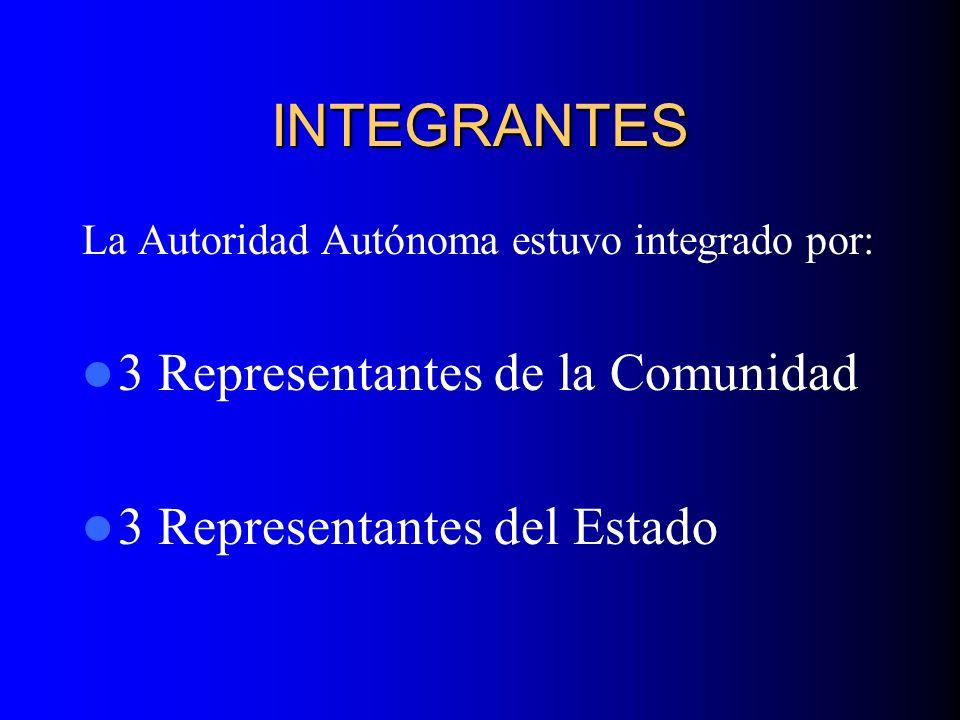 INTEGRANTES 3 Representantes de la Comunidad