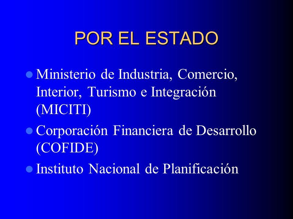 POR EL ESTADO Ministerio de Industria, Comercio, Interior, Turismo e Integración (MICITI) Corporación Financiera de Desarrollo (COFIDE)