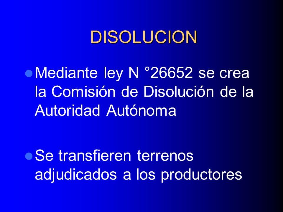 DISOLUCION Mediante ley N °26652 se crea la Comisión de Disolución de la Autoridad Autónoma.