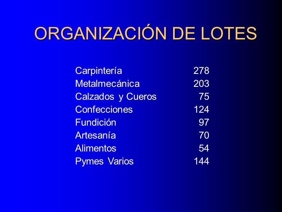 ORGANIZACIÓN DE LOTES Carpintería 278 Metalmecánica 203