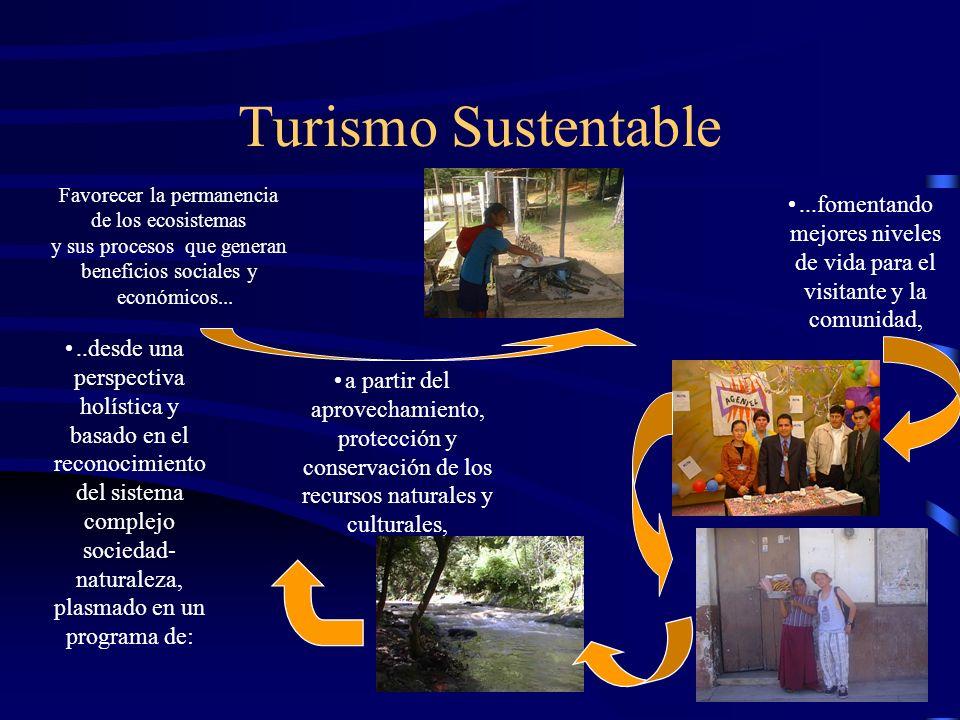 Turismo Sustentable Favorecer la permanencia. de los ecosistemas. y sus procesos que generan. beneficios sociales y.