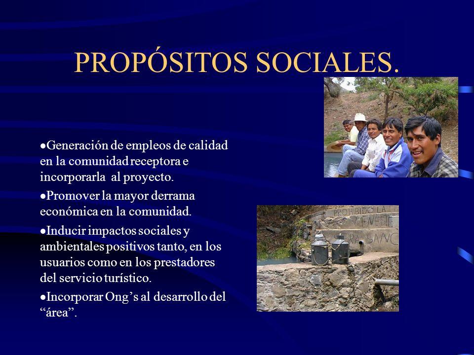 PROPÓSITOS SOCIALES. Generación de empleos de calidad en la comunidad receptora e incorporarla al proyecto.