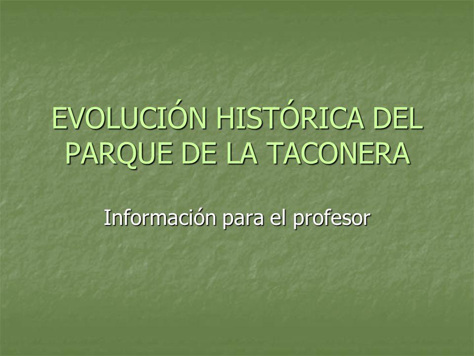 EVOLUCIÓN HISTÓRICA DEL PARQUE DE LA TACONERA