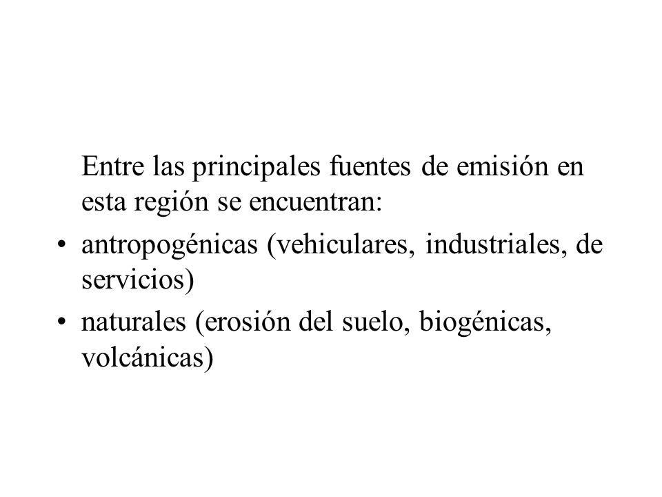 Entre las principales fuentes de emisión en esta región se encuentran: