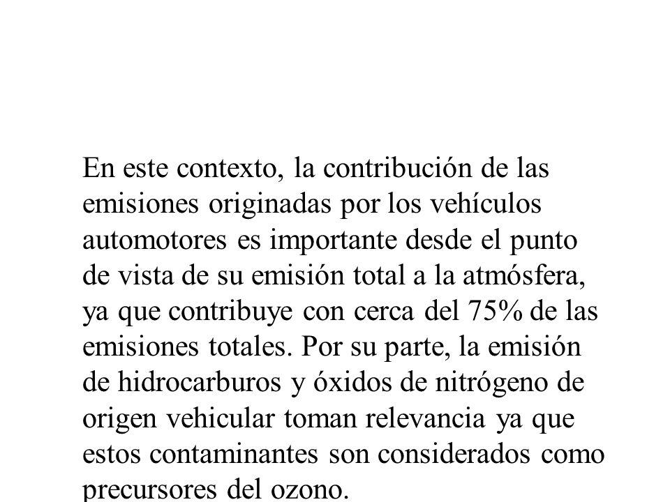 En este contexto, la contribución de las emisiones originadas por los vehículos automotores es importante desde el punto de vista de su emisión total a la atmósfera, ya que contribuye con cerca del 75% de las emisiones totales.