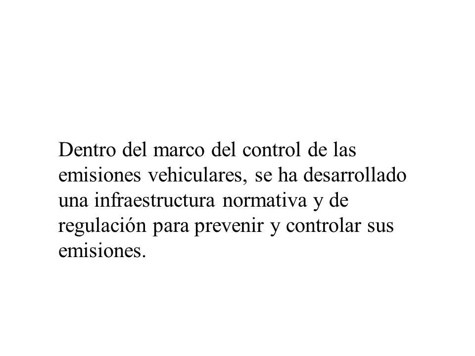 Dentro del marco del control de las emisiones vehiculares, se ha desarrollado una infraestructura normativa y de regulación para prevenir y controlar sus emisiones.