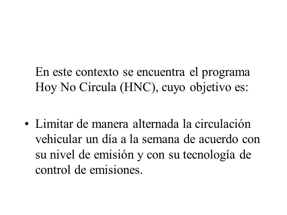 En este contexto se encuentra el programa Hoy No Circula (HNC), cuyo objetivo es: