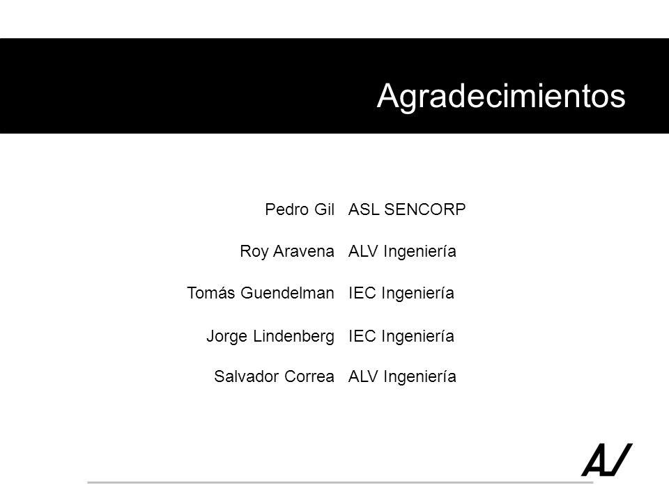 Agradecimientos Pedro Gil ASL SENCORP Roy Aravena ALV Ingeniería
