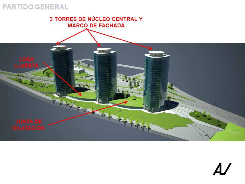 3 TORRES DE NÚCLEO CENTRAL Y MARCO DE FACHADA
