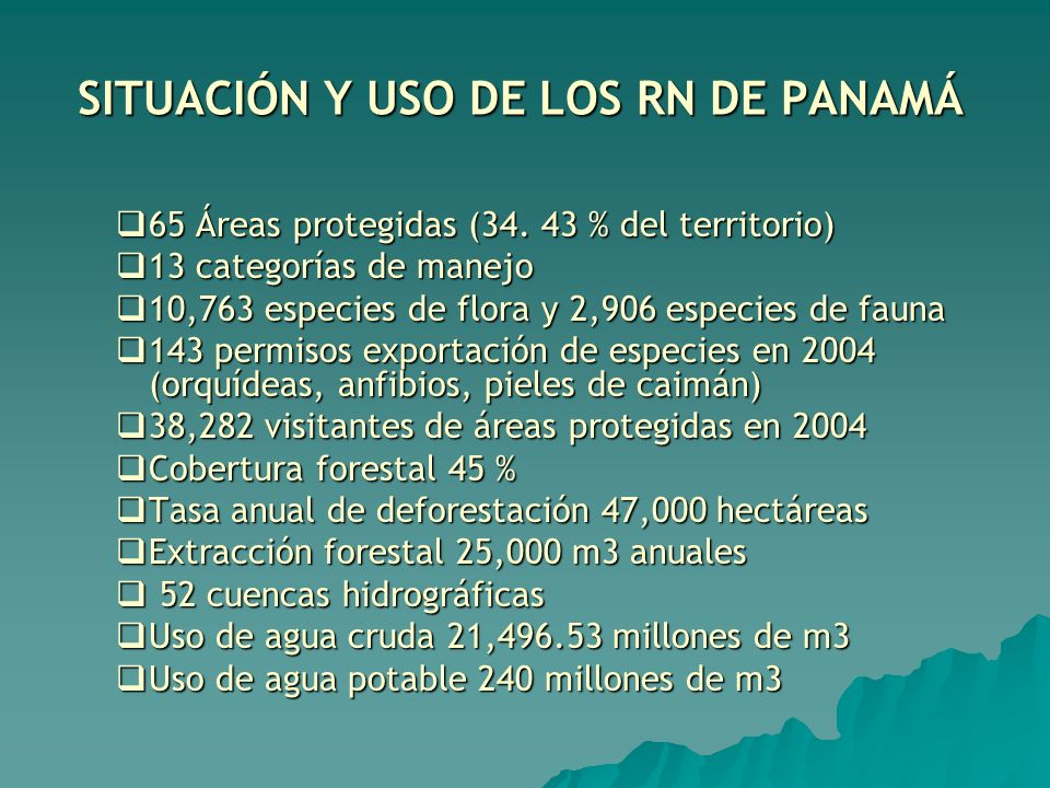 SITUACIÓN Y USO DE LOS RN DE PANAMÁ