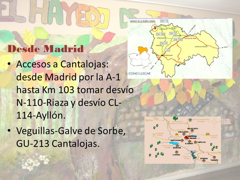 Desde Madrid Accesos a Cantalojas: desde Madrid por la A-1 hasta Km 103 tomar desvío N-110-Riaza y desvío CL-114-Ayllón.