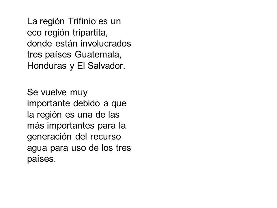 La región Trifinio es un eco región tripartita, donde están involucrados tres países Guatemala, Honduras y El Salvador.