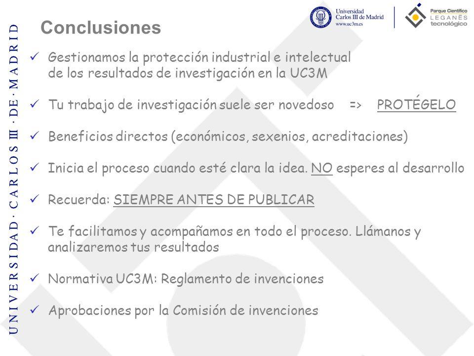 Conclusiones Gestionamos la protección industrial e intelectual