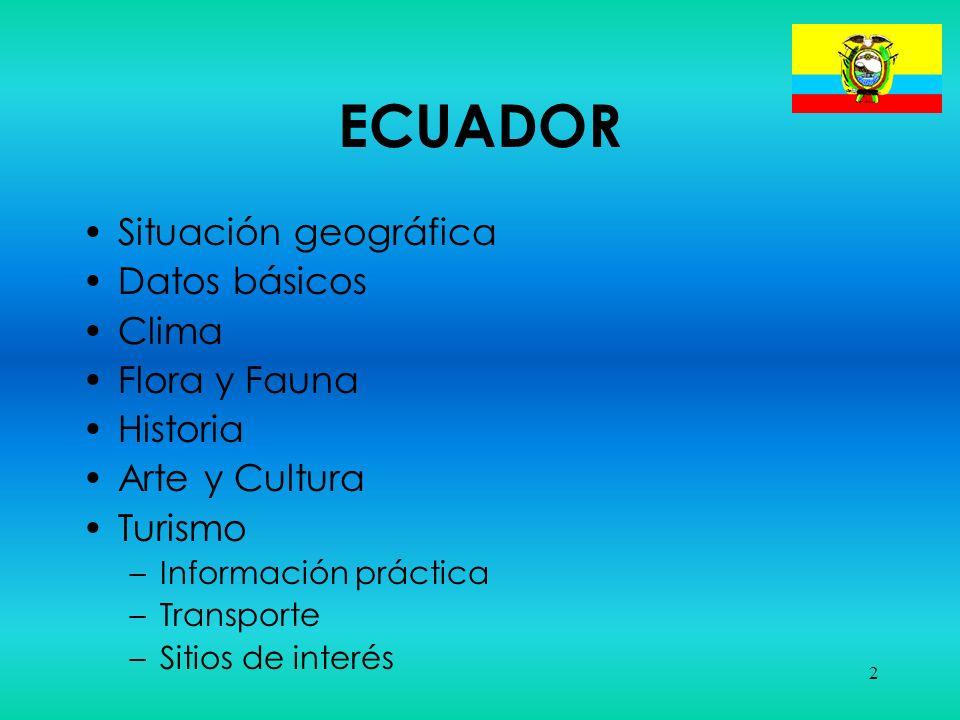 ECUADOR Situación geográfica Datos básicos Clima Flora y Fauna