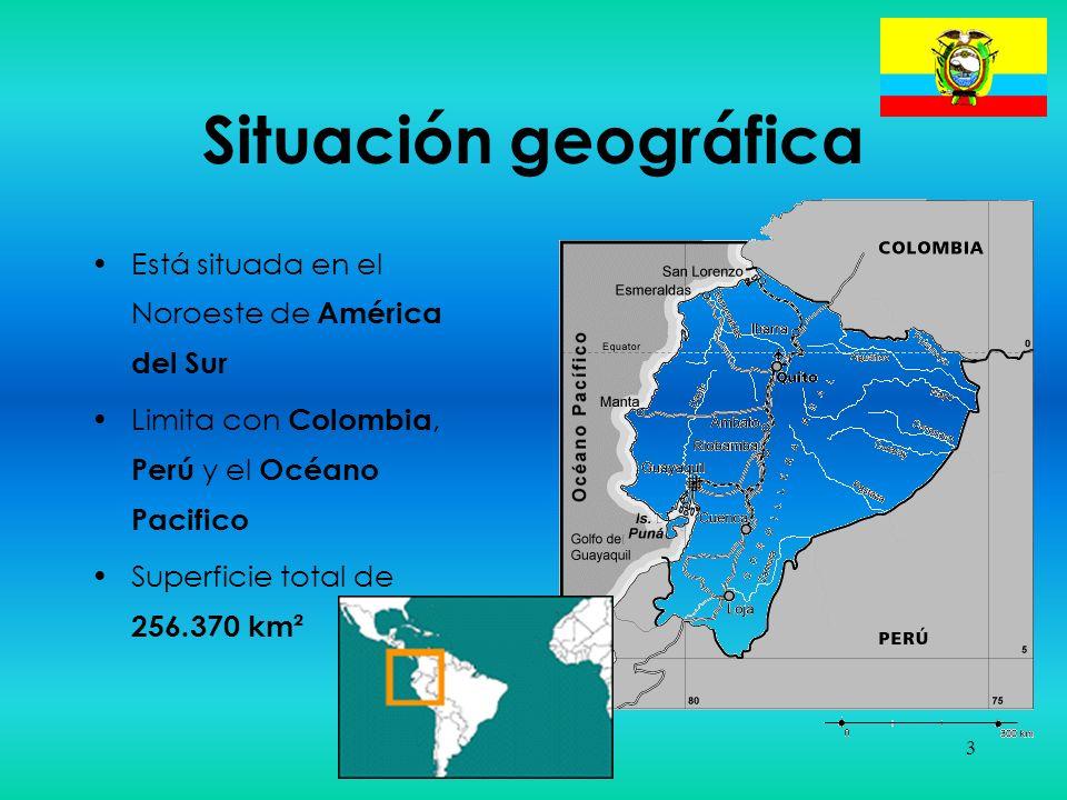 Situación geográfica Está situada en el Noroeste de América del Sur