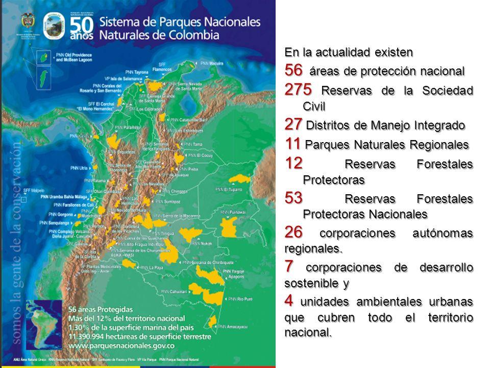 56 áreas de protección nacional 275 Reservas de la Sociedad Civil