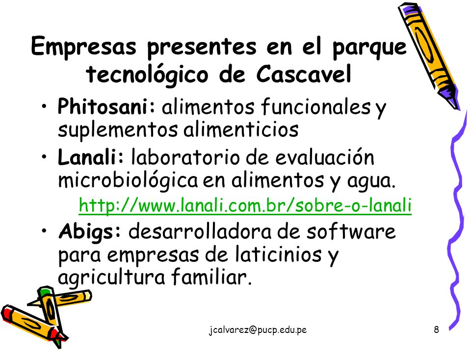 Empresas presentes en el parque tecnológico de Cascavel