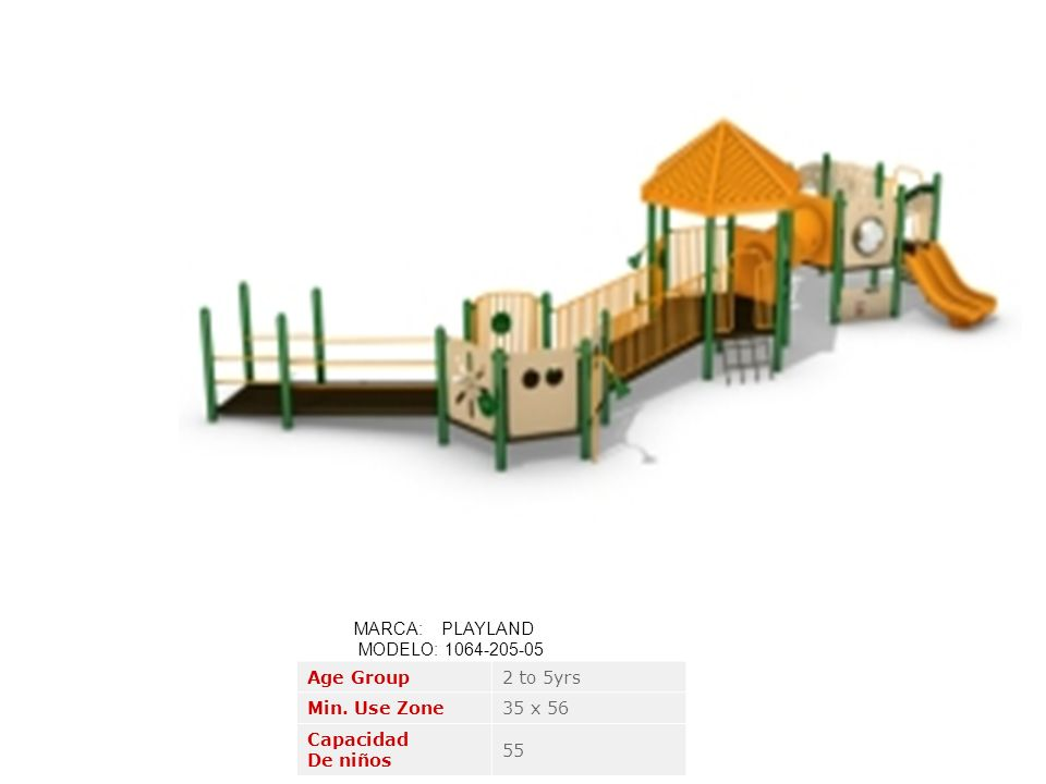 MARCA: PLAYLAND MODELO: 1064-205-05. Age Group. 2 to 5yrs. Min. Use Zone. 35 x 56. Capacidad.
