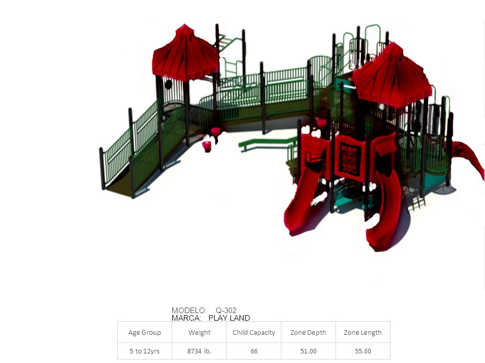 MODELO: Q-302 MARCA: PLAY LAND. Age Group. Weight. Child Capacity. Zone Depth. Zone Length.