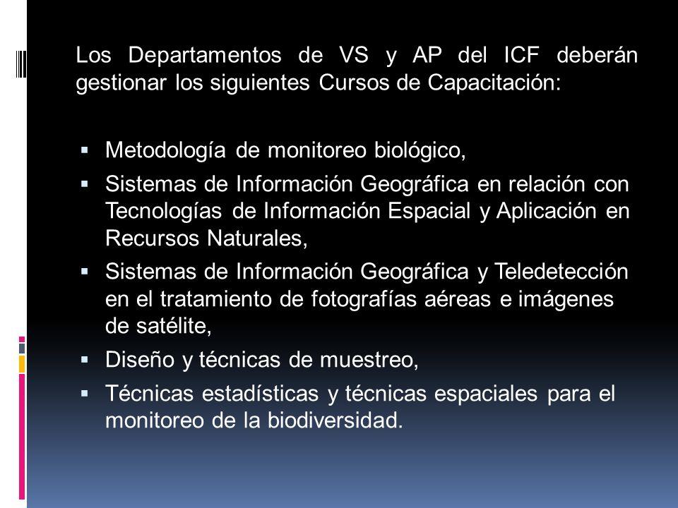 Los Departamentos de VS y AP del ICF deberán gestionar los siguientes Cursos de Capacitación: