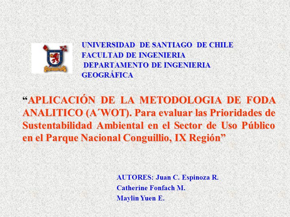 UNIVERSIDAD DE SANTIAGO DE CHILE FACULTAD DE INGENIERIA DEPARTAMENTO DE INGENIERIA GEOGRÁFICA