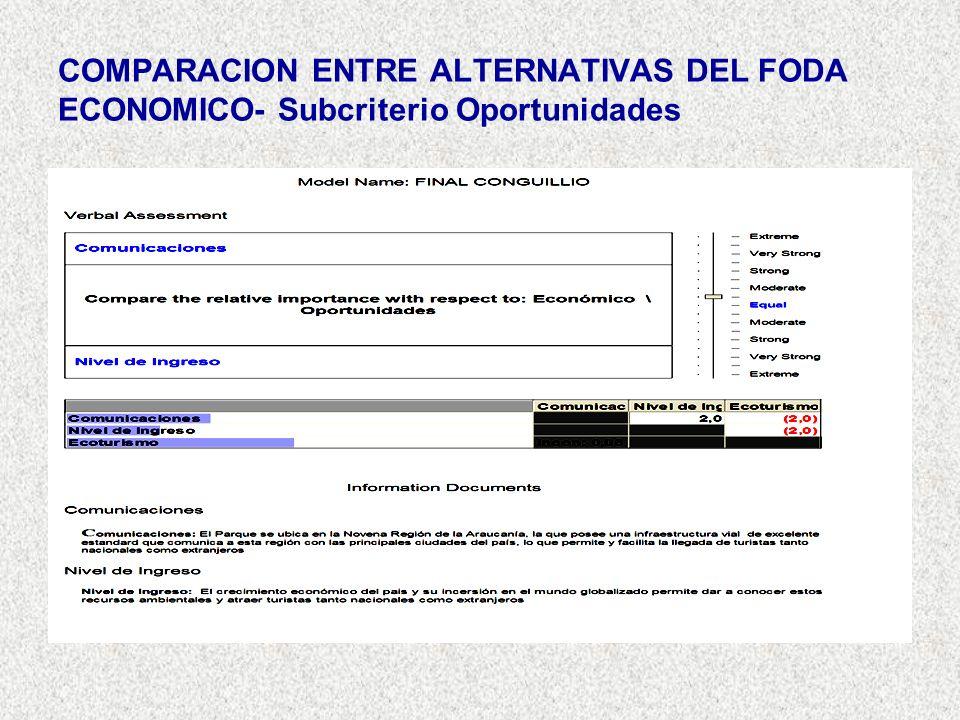 COMPARACION ENTRE ALTERNATIVAS DEL FODA ECONOMICO- Subcriterio Oportunidades
