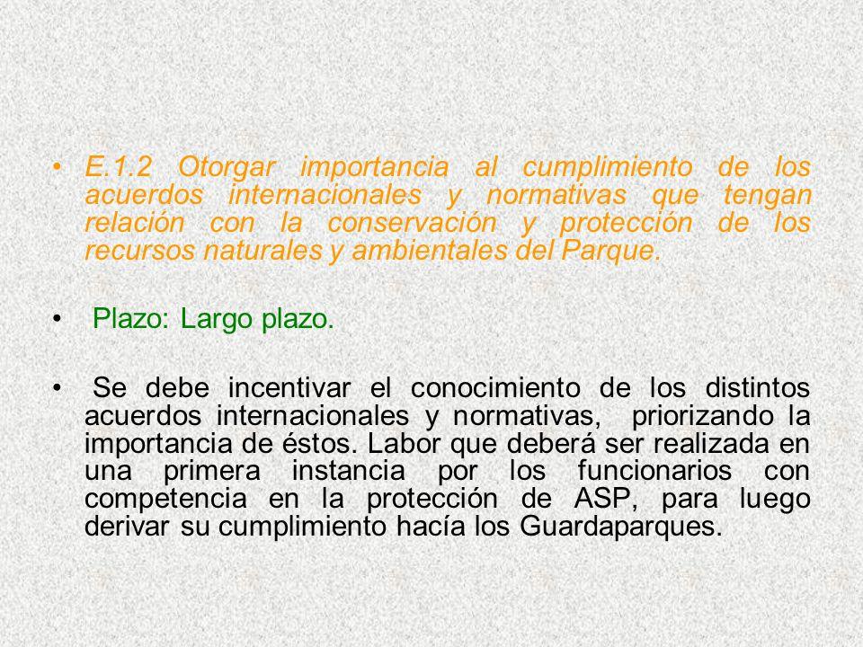 E.1.2 Otorgar importancia al cumplimiento de los acuerdos internacionales y normativas que tengan relación con la conservación y protección de los recursos naturales y ambientales del Parque.
