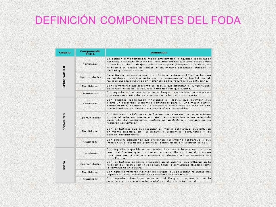 DEFINICIÓN COMPONENTES DEL FODA