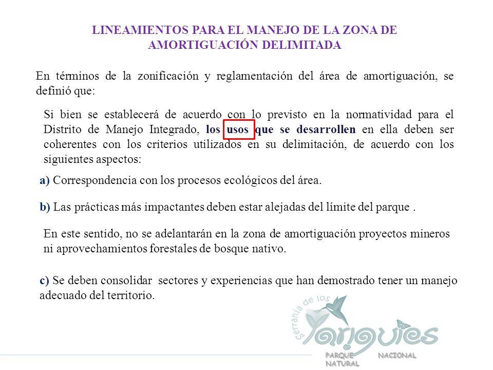 LINEAMIENTOS PARA EL MANEJO DE LA ZONA DE AMORTIGUACIÓN DELIMITADA